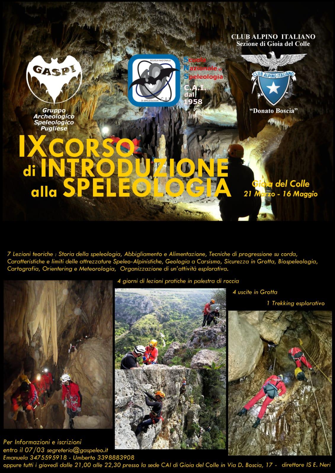 Locandina IX Corso speleologia 2019
